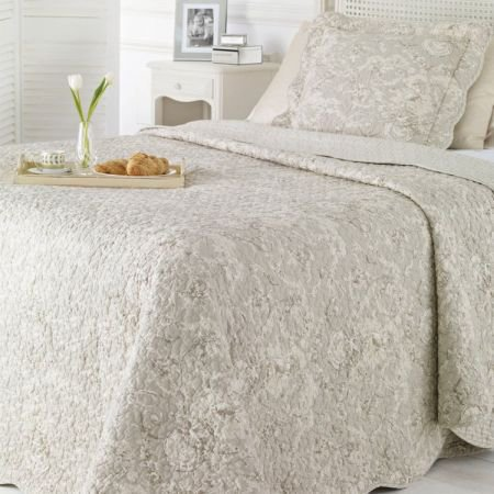 Double Light Grey Toile de Jouy Quilted Bed Cover
