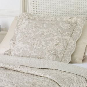 Light Grey Toile de Jouy quilted Cushion