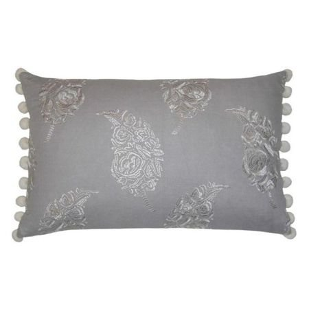 Embroidered Bobble Rectangular Cushion - Grey