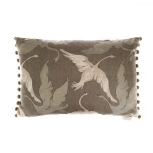 Taupe Swan Design Rectangular Bobble Cushion