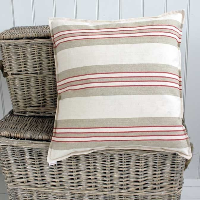 Linen Red Stripe Cushion  50 x 50cm