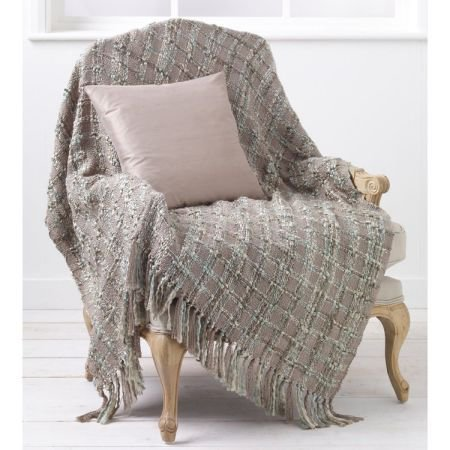 Kelso Throw - Duck Egg & Taupe
