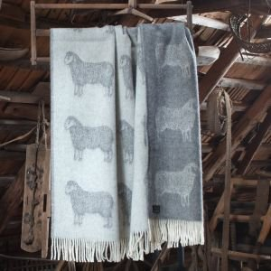 Sheep Design Wool French Bed Throw