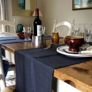 Charcoal  Linen Table Runner 45 x 140cm
