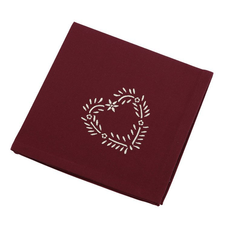 Set of 4 Burgundy Napkins with embroidered heart detail