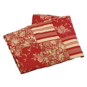 Reversible Patchwork Red Quilted Throw