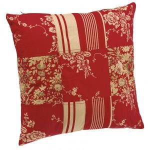 Patchwork red toile de jouy cushion
