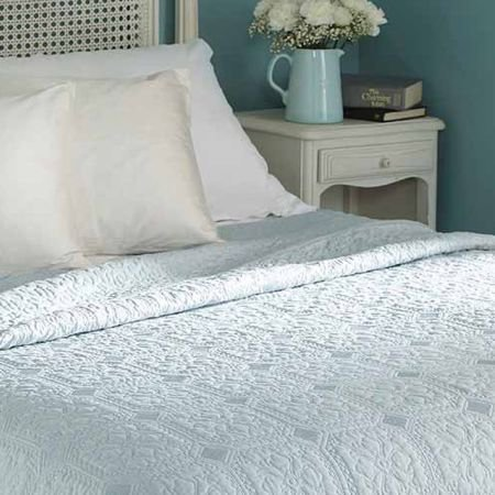 Kingsize Victoria Duck Egg Quilted Bedcover