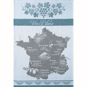 White wine map of France - Tea towel