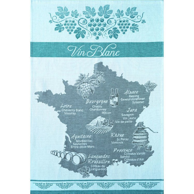 Macon France Map.White Wine Map Of France Tea Towel French Tea Towels