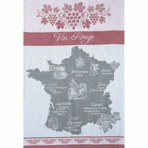 Red wine map of France - tea towel