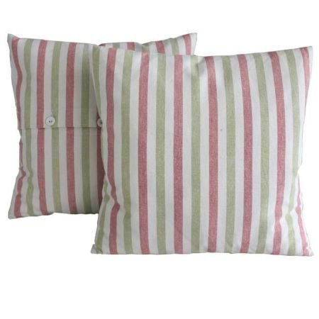 Carnival Stripe Cushion Green and Red