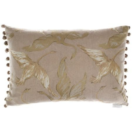 Linen Swan Design Bobble Cushion