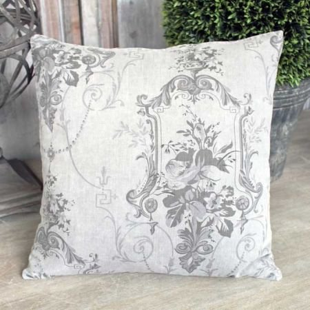 Linen and Charcoal Toile de Jouy Cushion
