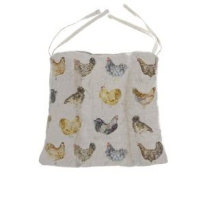 Chicken Fabric Chair Pad with Ties