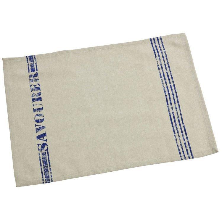 Set of 2 Beige and Blue Stripe Table Mats