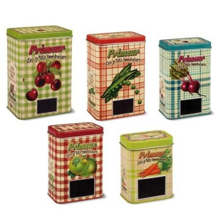 Set of 5 French Storage Tins with Chalkable Labels