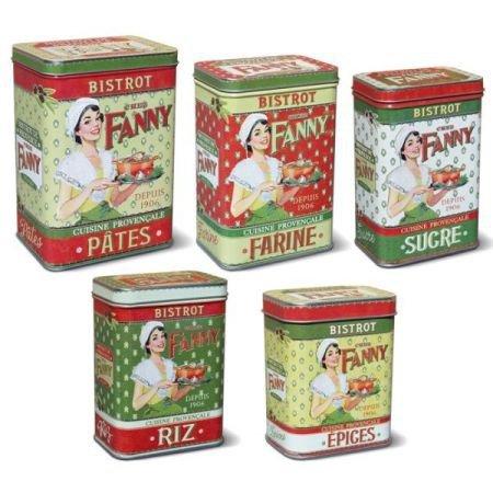 Set of 5 French Provence Design Storage Tins
