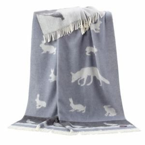 Reversible Wool Throw - Fox Rabbit and Pheasant