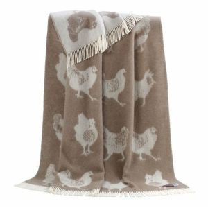 Reversible wool throw - Brown Chickens