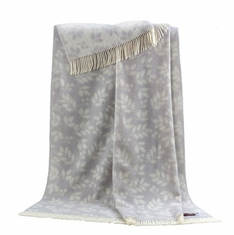 Reversible Wool Throw - Argent Leaves