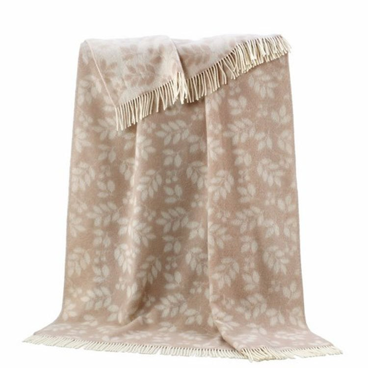 Reversible Wool Throw - Soft Beige Leaves
