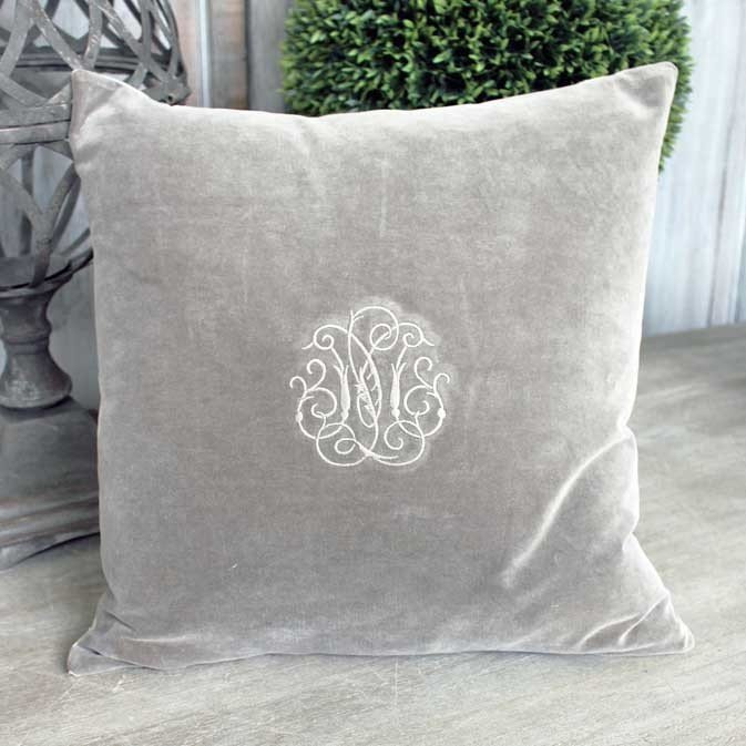 Grey Velvet Cushion With Embroidered Monogram Cushions