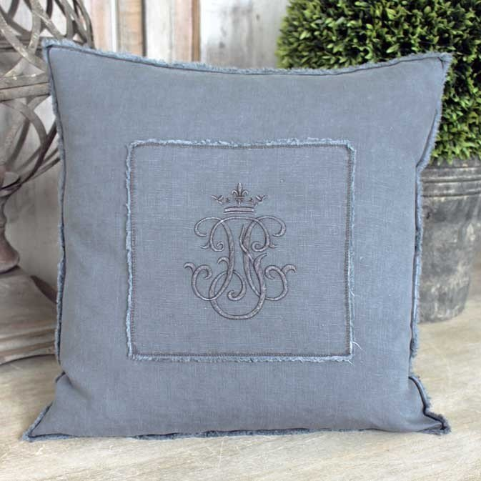 Charcoal linen cushion with monogram french bathroom for Charcoal bathroom accessories
