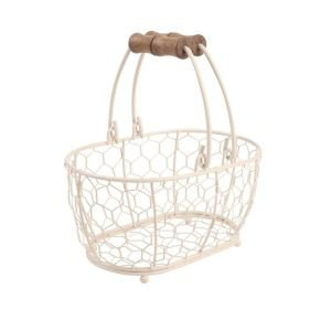 Provence cream oval chicken wire basket - small