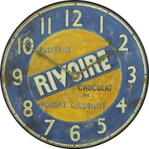 Blue and Yellow Retro Advertising Clock