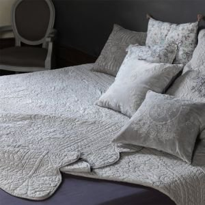 Putty Grey Quilted Bed Throw 240 x 260cm