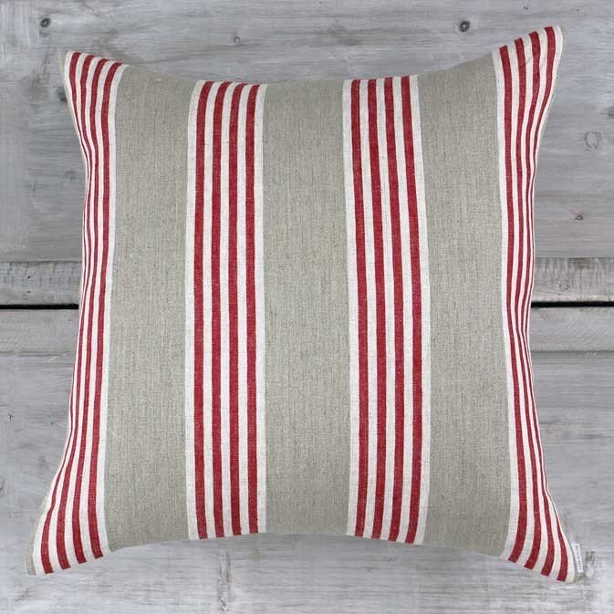 French Design Red And Beige Ticking Cushion