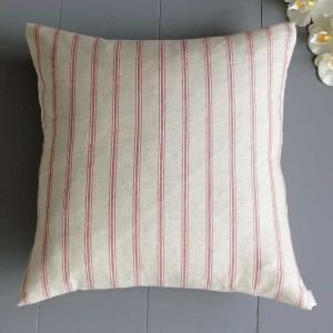 Red and linen ticking pinstripe cushion
