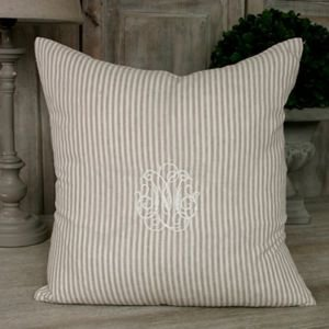 Linen stripe monogram cushion