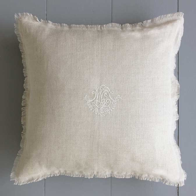 Fringed Linen Monogram Cushion