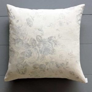 Antique Rose Cushion Linen and Blue