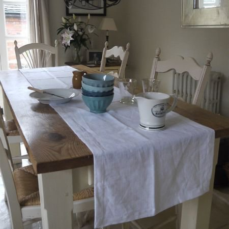 Long Linen Table Runner - Ivory