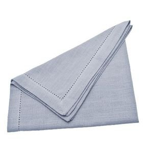 Set of 4 Hemstitch Napkins - Argent Grey