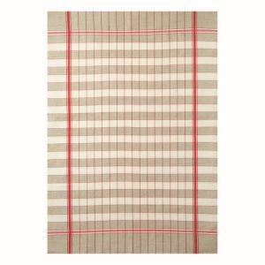French Linen Rich Tea Towel - Red and Linen Small Check