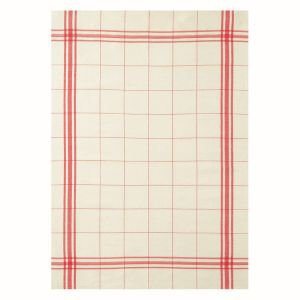 French Linen Rich Tea Towel - Red and Cream check