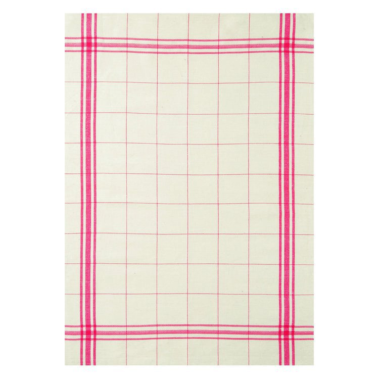 French Linen Rich Tea Towel - Red and white check