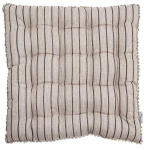Linen Mix Seat Pad - Beige Charcoal Stripe