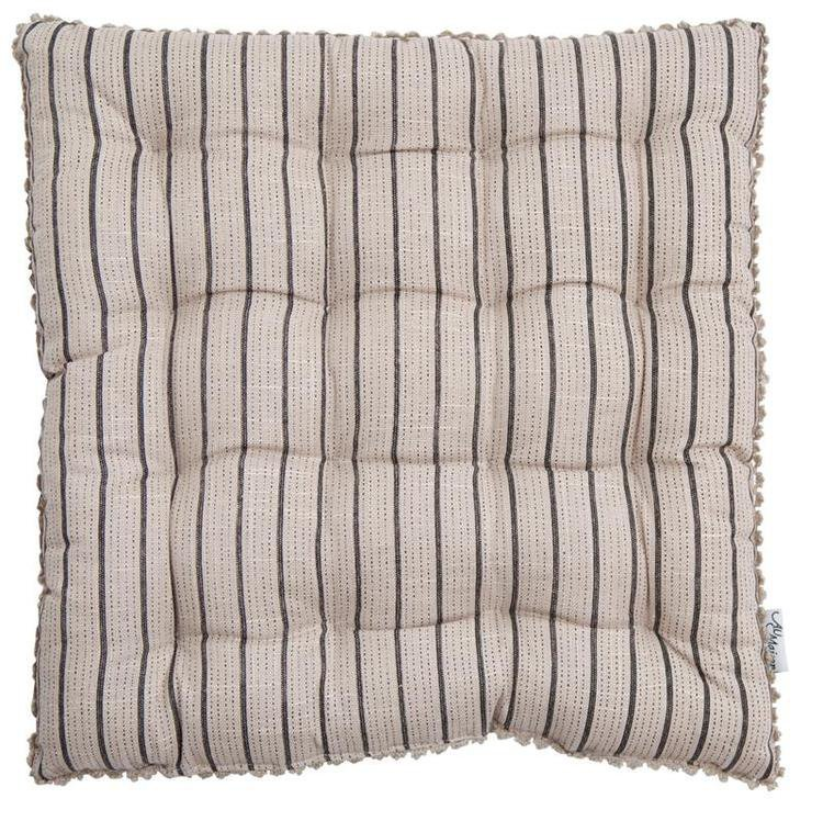 Linen Mix Chair Pad - Beige Charcoal Stripe