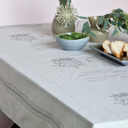 Grey Script and Stripe Oilcloth