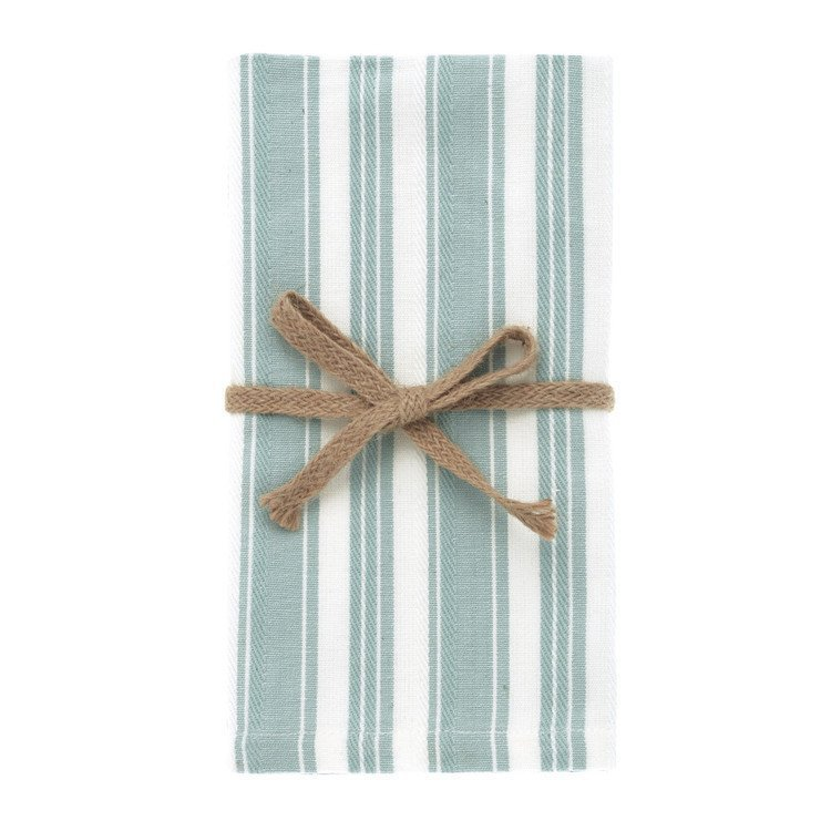 Set of 4 Stripe Opal and White Napkins