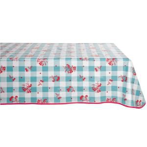 Rectangular Oilcloth Tablecloth  Turquoise Check