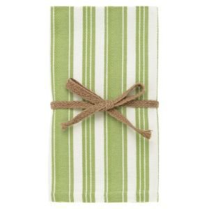 Set of 4 Green and White Stripe Napkins