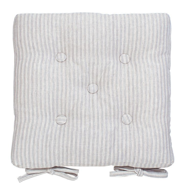 Grey Ticking Stripe Chair Pad