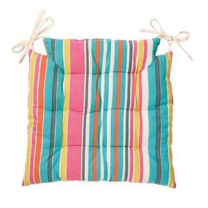 Multi Stripe Seat Pad - Aquarelle