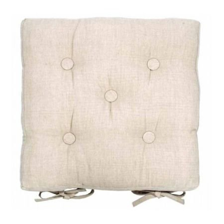 Square Buttoned Chair Pad with Ties - Linen colour